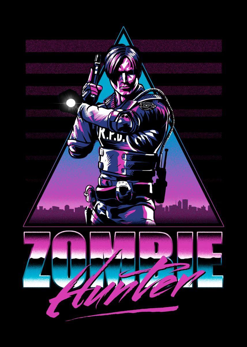 Zombie Hunter Poster By Denis Orio Ibanez Displate Vintage Horror Movie Posters Vintage Horror Movies Poster Prints
