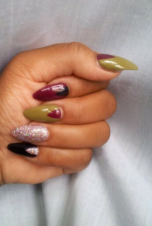 Long Length Press On Fake Nails Color Blocking by HouseOfPtah ...
