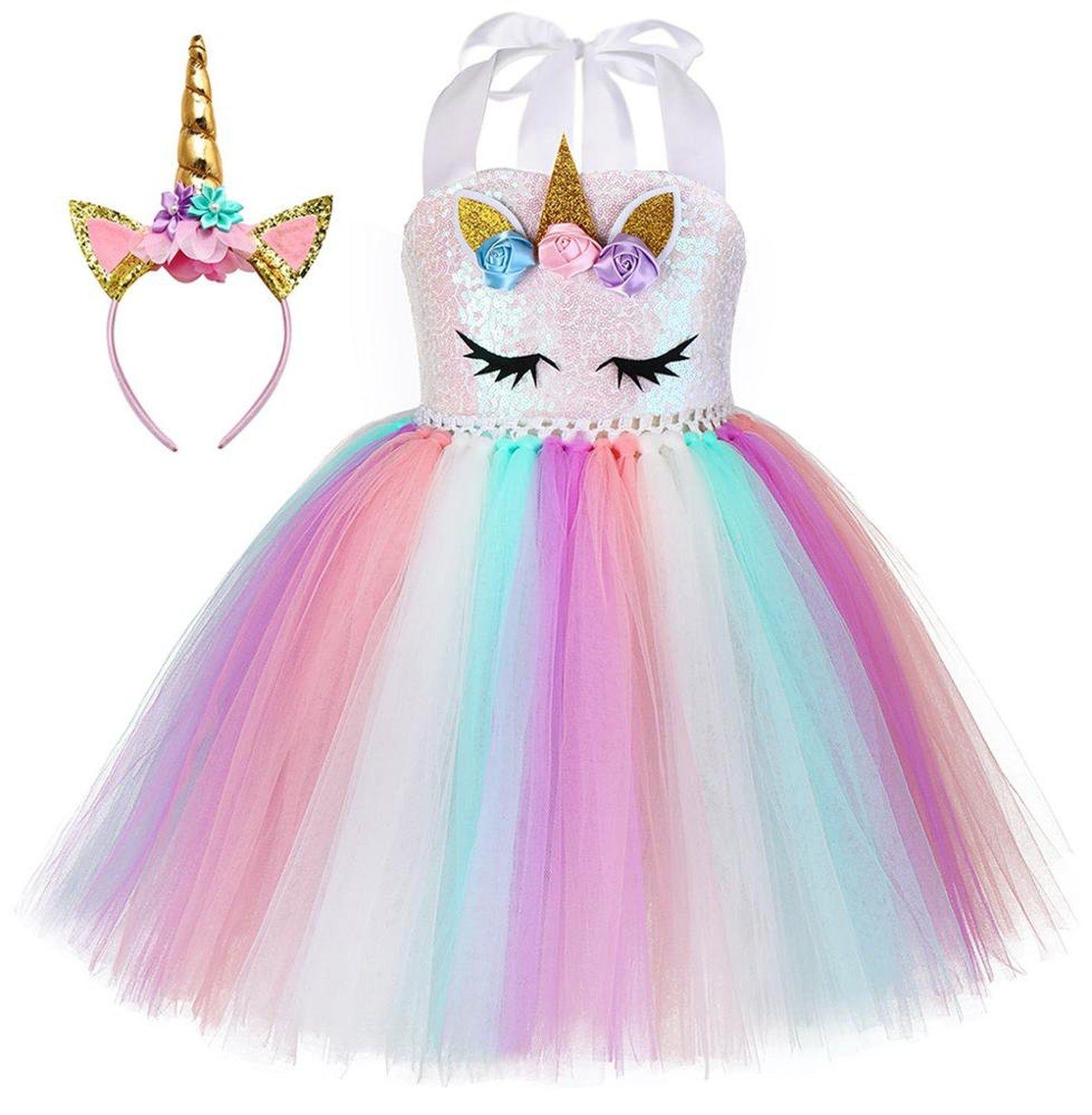 Girls Rainbow Unicorn Dress Set for Birthday Holid