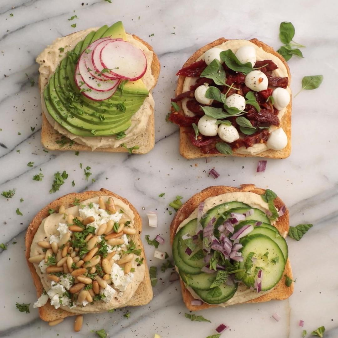 Hummus Toast – 4 Ways