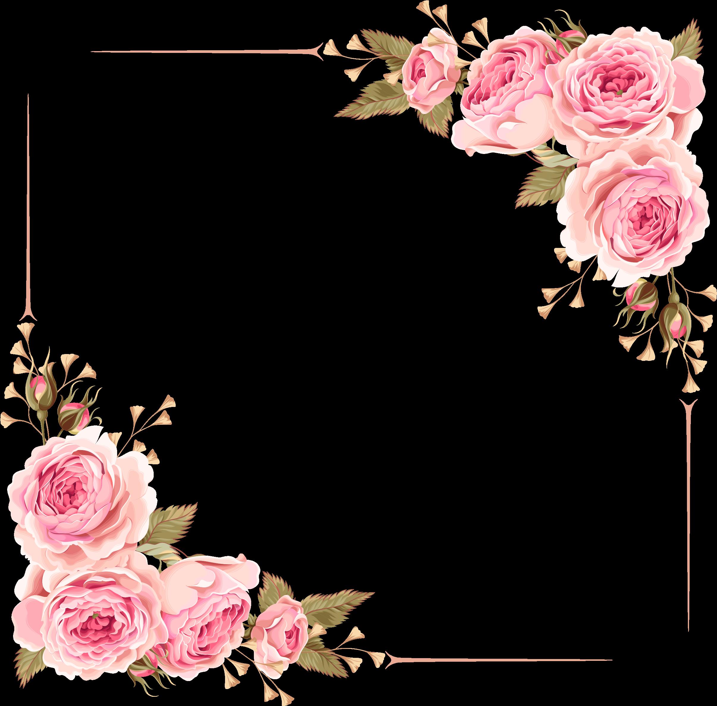 Rose Border Wedding Invitation Flower Borders Png Download Transparent Png Image Clip Art Borders Floral Border Design Flower Border
