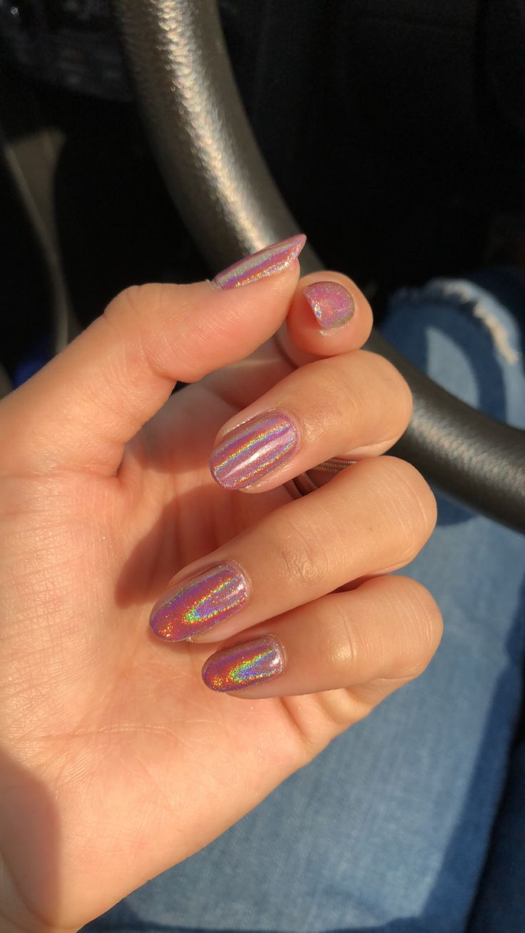 Cute Holographic Gel Nails – #Gel #Holographic #style #shopping #styles