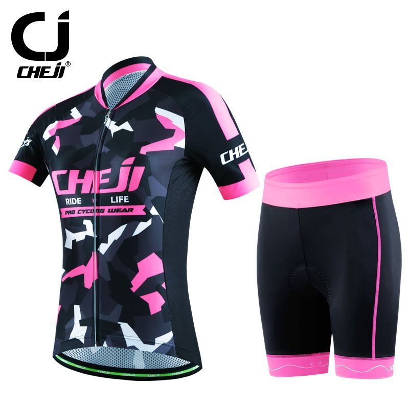 854a1a29a CHEJI Women Cycling clothing Pro Bike Jerseys Shorts Sets Red Black Pink  Girls MTB Team Shirts