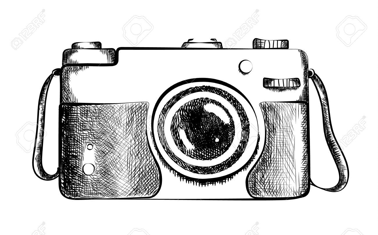 Stock Vector Dessin appareil photo, Photo noir et blanc