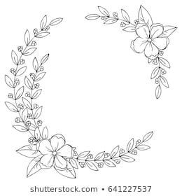 Photo of Benzer vector black white outline simple sketch of decorative flowers and leaves wreath set …
