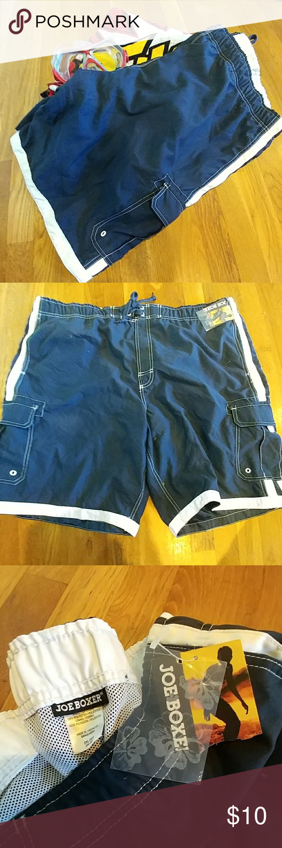 c305f4f44d JOE BOXER NWT XXL Men's swim trunks Joe Boxer men's swim trunks, color is  navy with white accent stripes, size is 2XL, pockets on both legs 6 items  for $25.