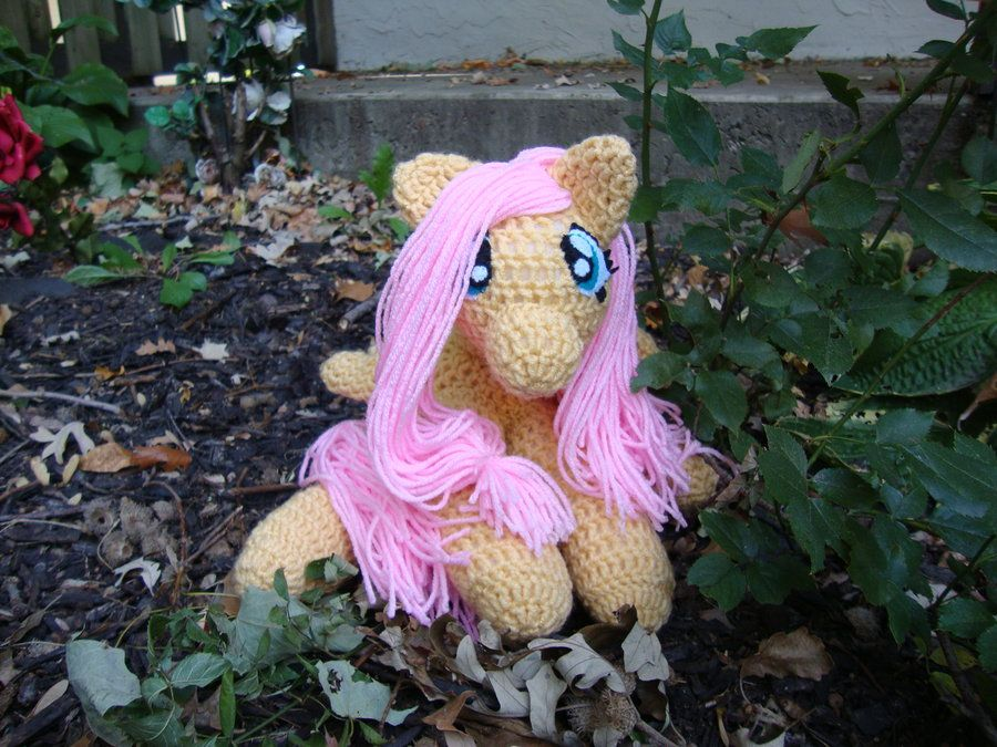 Fluttershy Amigurumi that I made.  Super sweet little cuddle thing.