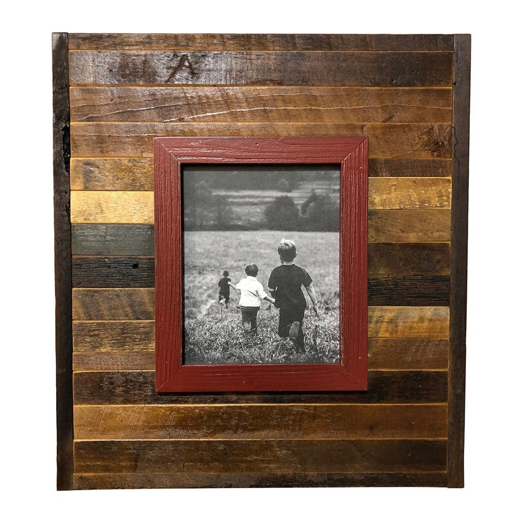 Raised Frame On Reclaimed Wood Barn Red On Wood 22 X 20 Rustic Picture Frames Handmade Picture Frames Barn Wood Frames