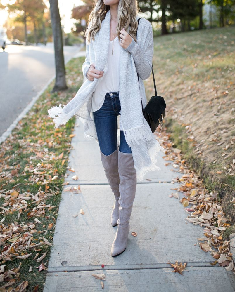 Fringe Cardigan + Over the Knee Boots