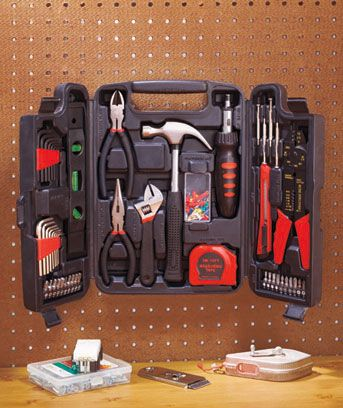 93-Pc. Hand Tool Set No matter how long your to-do list is, the 93-Pc. Hand Tool Set has you covered. Its tools are crafted from tough carbon steel to tackle a variety of home improvements and car repairs. All the pieces will stay organized and easily accessible in the durable, blow-molded plastic case. Keep it in the garage or kitchen for all your projects. Multipurpose tool set for projects big and small 93-Pc. set $23.95 set