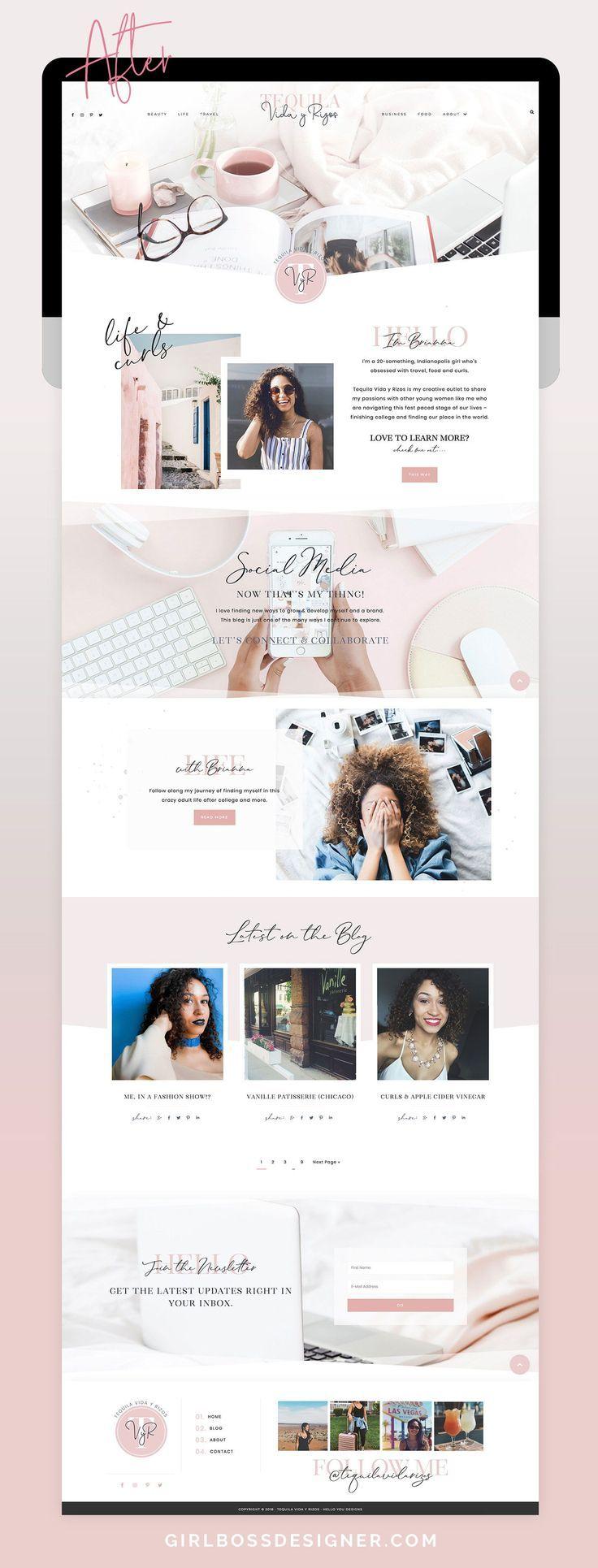 Blush en marine vrouwelijk WordPress blogontwerp voor lifestyle blog door Girlboss Des ...