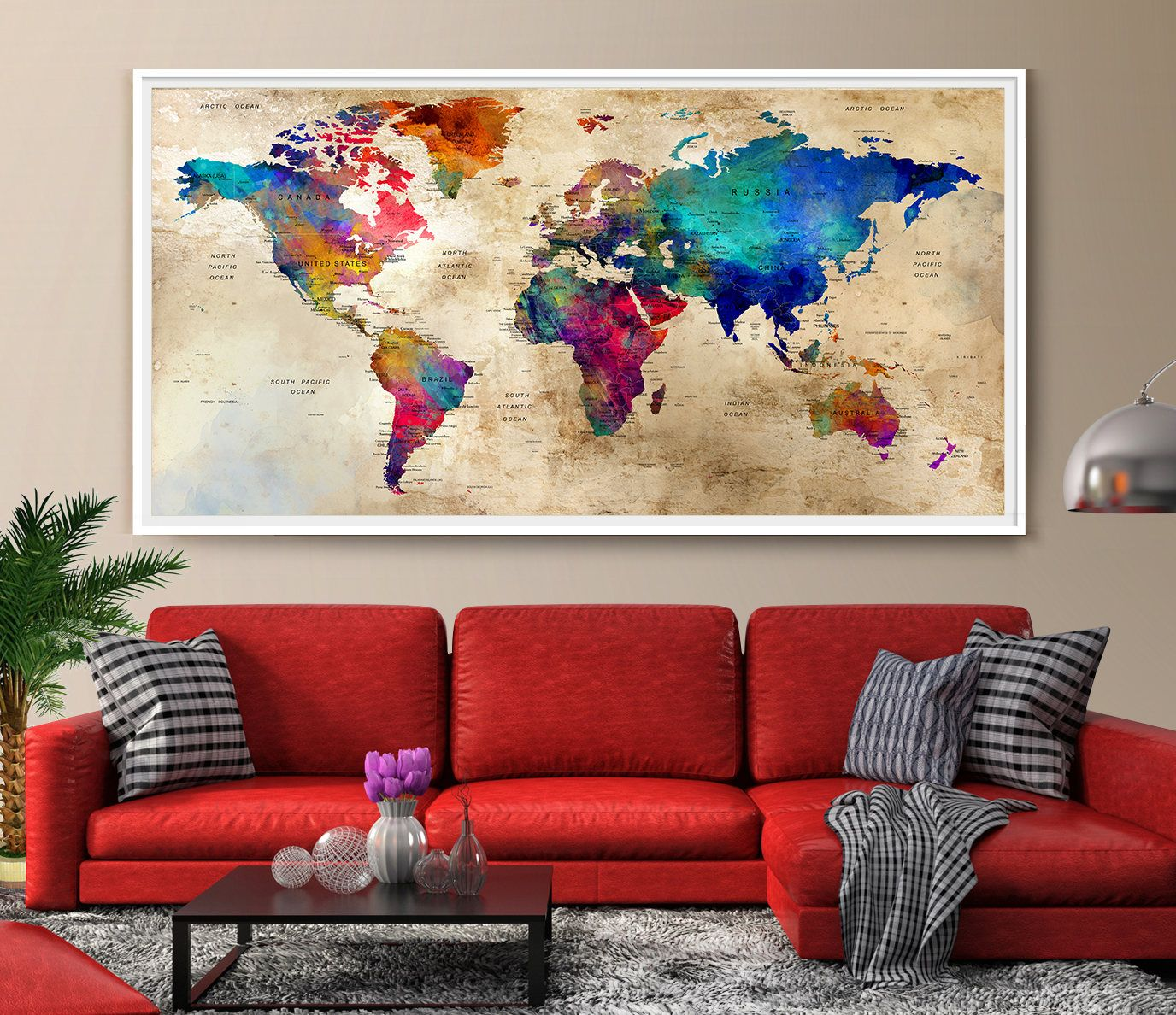 Large Wall Art World Map Colorful Wall Art Watercolor Push Pin