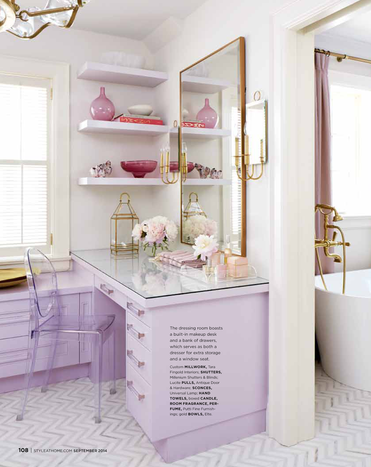Tiffany Leigh Interior Design Lilac And Gold Built In Vanity In ~ Salle De Bain Swarovski