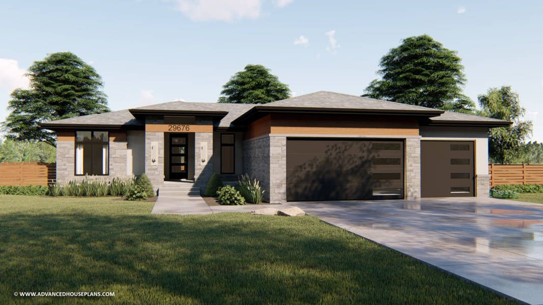 1 Story Modern Prairie Style Plan Pacific Woods Prairie Style Houses Ranch Style House Plans Prairie House