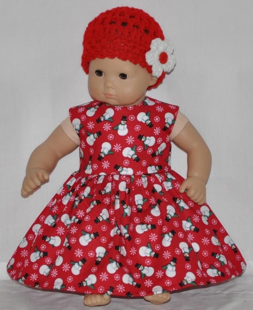 American Made Doll Clothes For Bitty Baby Twins Red Snowman Snow Flakes Dress