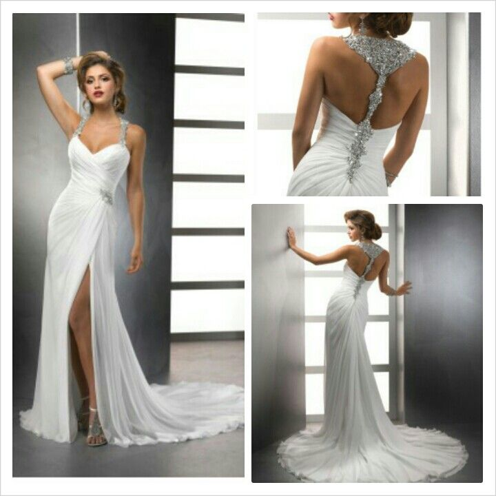 White Chiffon Front Silt Casual Style Backless Halter Top: Chiffon Wedding Dress Beach
