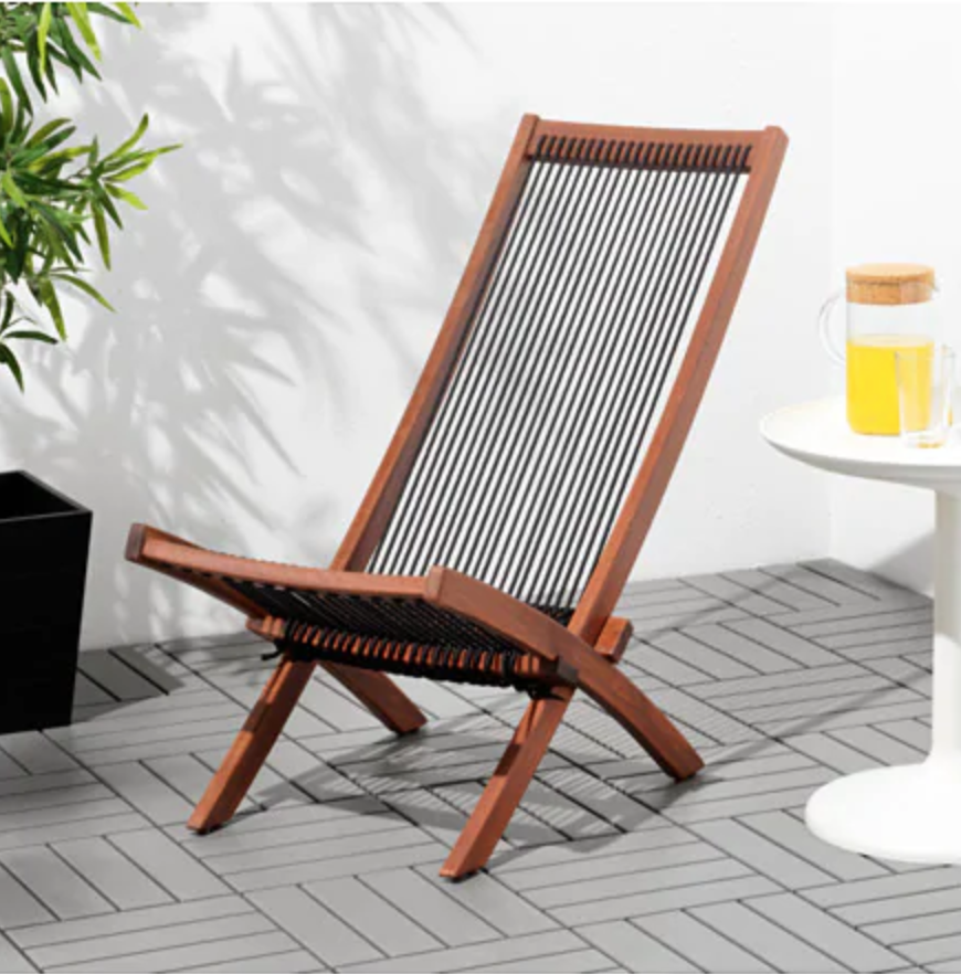 BROMMÖ Chaise, outdoor, brown stained black, brown IKEA
