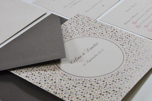 Faire-part de mariage inspiration taupe, rose et grège pour lArt du Papier