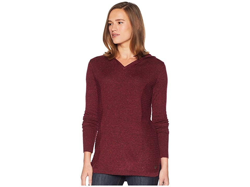 Royal Robbins Highlands Hoodie (Rumba Red) Women's Sweatshirt. Be prepared to beat the traveling woes with this easy-going Highlands Hoodie. Relaxed fit sweater knit drapes the body with an easy  pullover styling. Thermal knit delivers lightweight warmth with a odor-resistant finish. Speckled Merino blend lends superior comfort by pulling moisture from the body for quick evaporation. Attached hood. V-neck. Long sleeves. Ribbed #RoyalRobbins #Apparel #Top #Sweatshirt #Red
