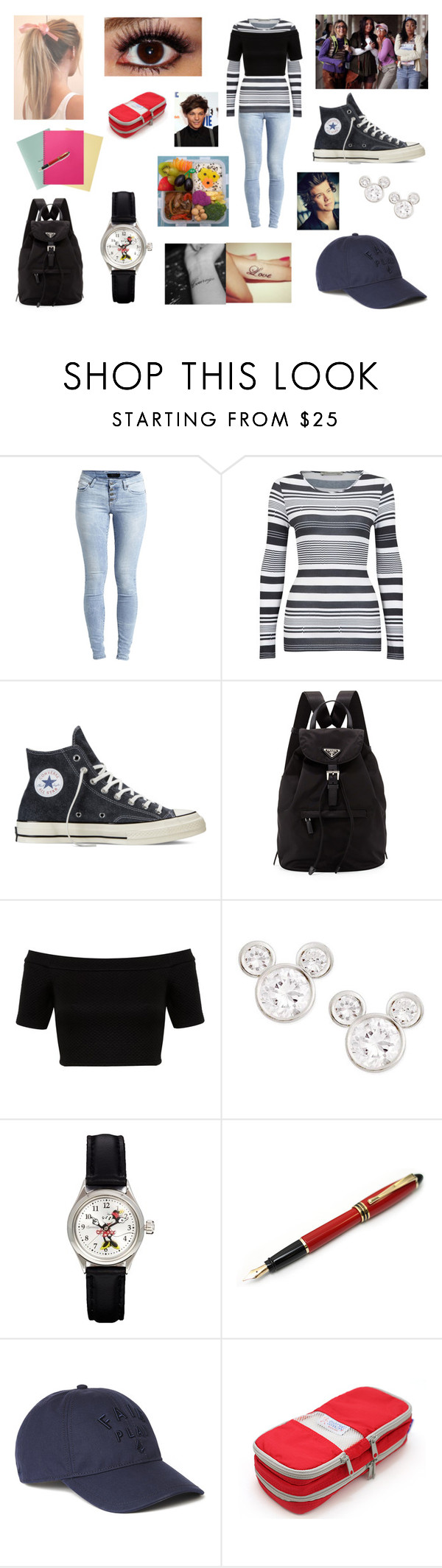 """Black magic before (with little mix)"" by louisericoul on Polyvore featuring mode, Object Collectors Item, FWSS, Converse, Prada, Miss Selfridge, Disney, Fountain et Lacoste"