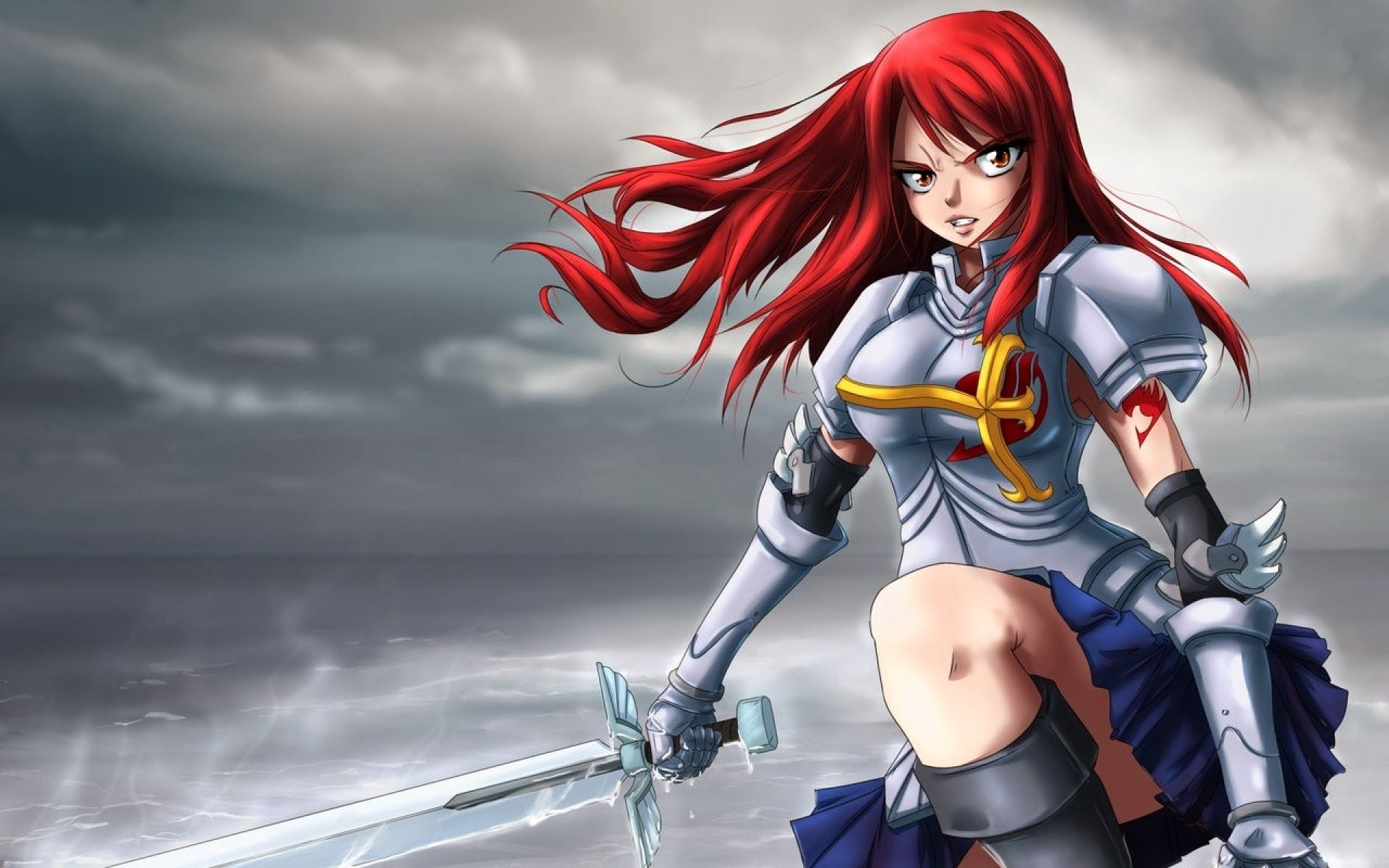 Erza Scarlet Armor Sword Fairy Tail Anime Hd Wallpaper Fairy
