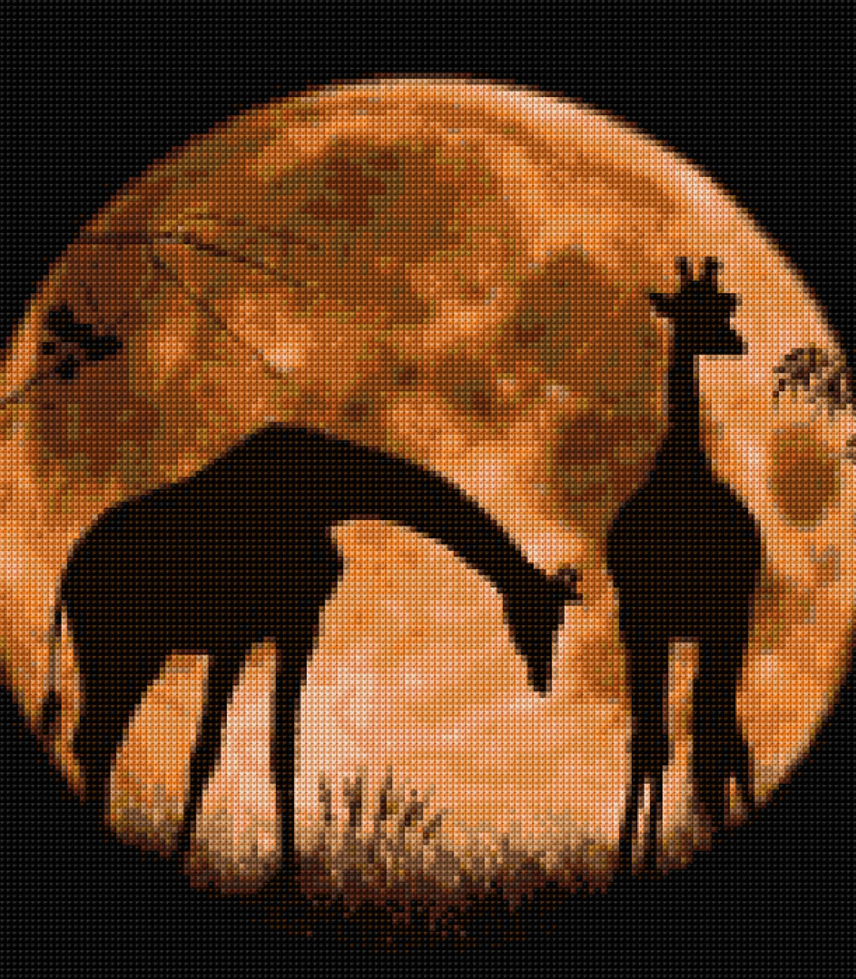 Giraffes in Moonlight Cross Stitch pattern PDF- EASY chart with one color per sheet And traditional chart! Two charts in one