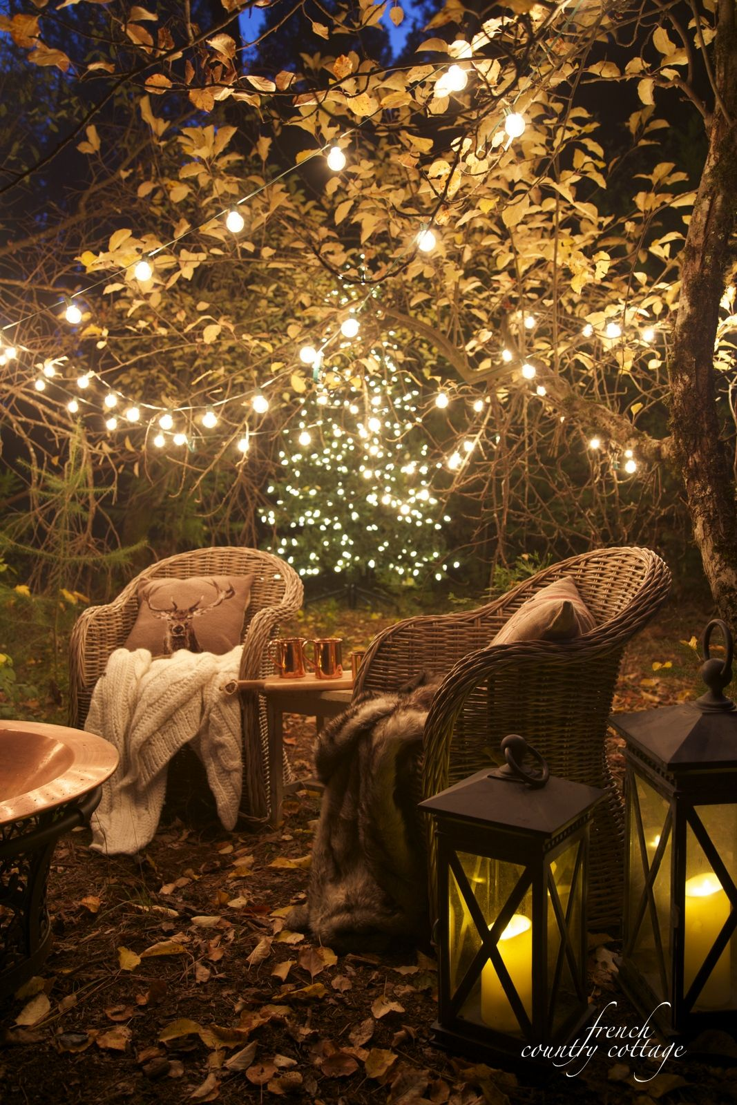 Evening View Christmas Lights Backyard Lighting Garden French Country Cottage
