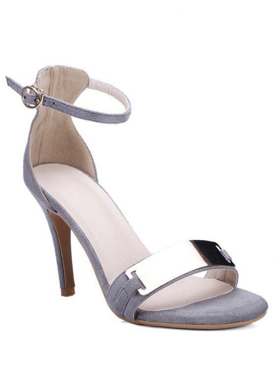 Stiletto Heel Ankle Strap Metal Sandals - GRAY 34