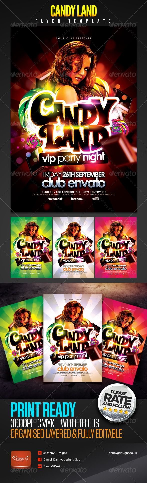 Candy Land Vip Party Night Flyer Psd Template Only Available Here Http