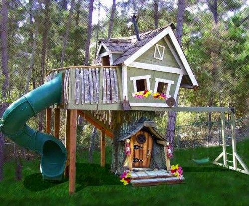Dream backyard playhouse for my kids this would be so for Cheap house stuff