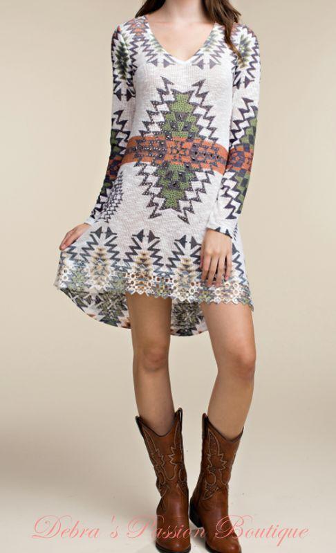 e538090938 Vocal California Rhinestones and Studs Tunic Dress Semi Sheer Knit, hard  crochet hem design Colors: White, Rust, Green Sizes S-M-L-XL 30-32 36-38  Bust front ...