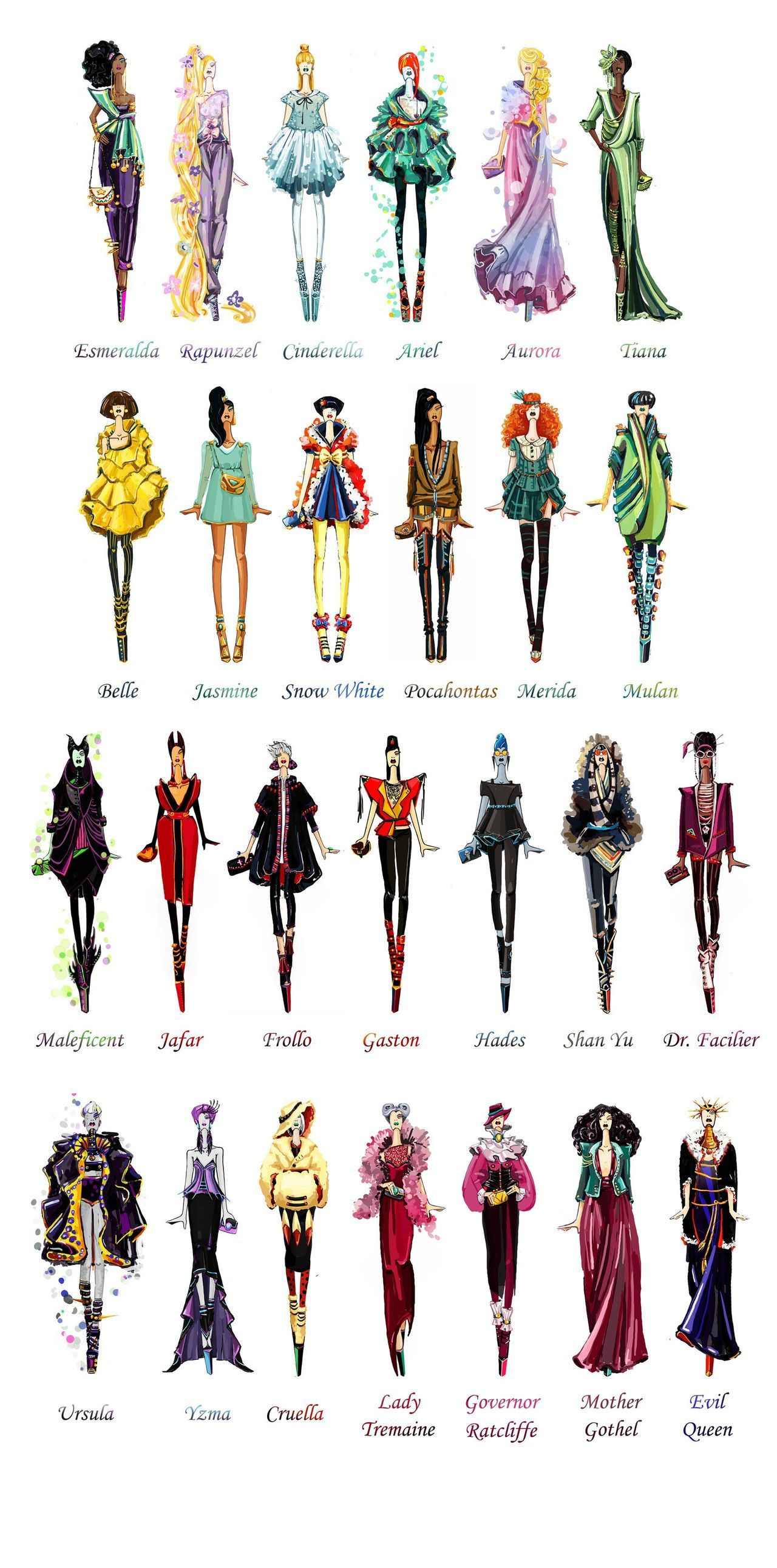ディズニープリンセスと悪役の魔女がスーパーモデルだったら