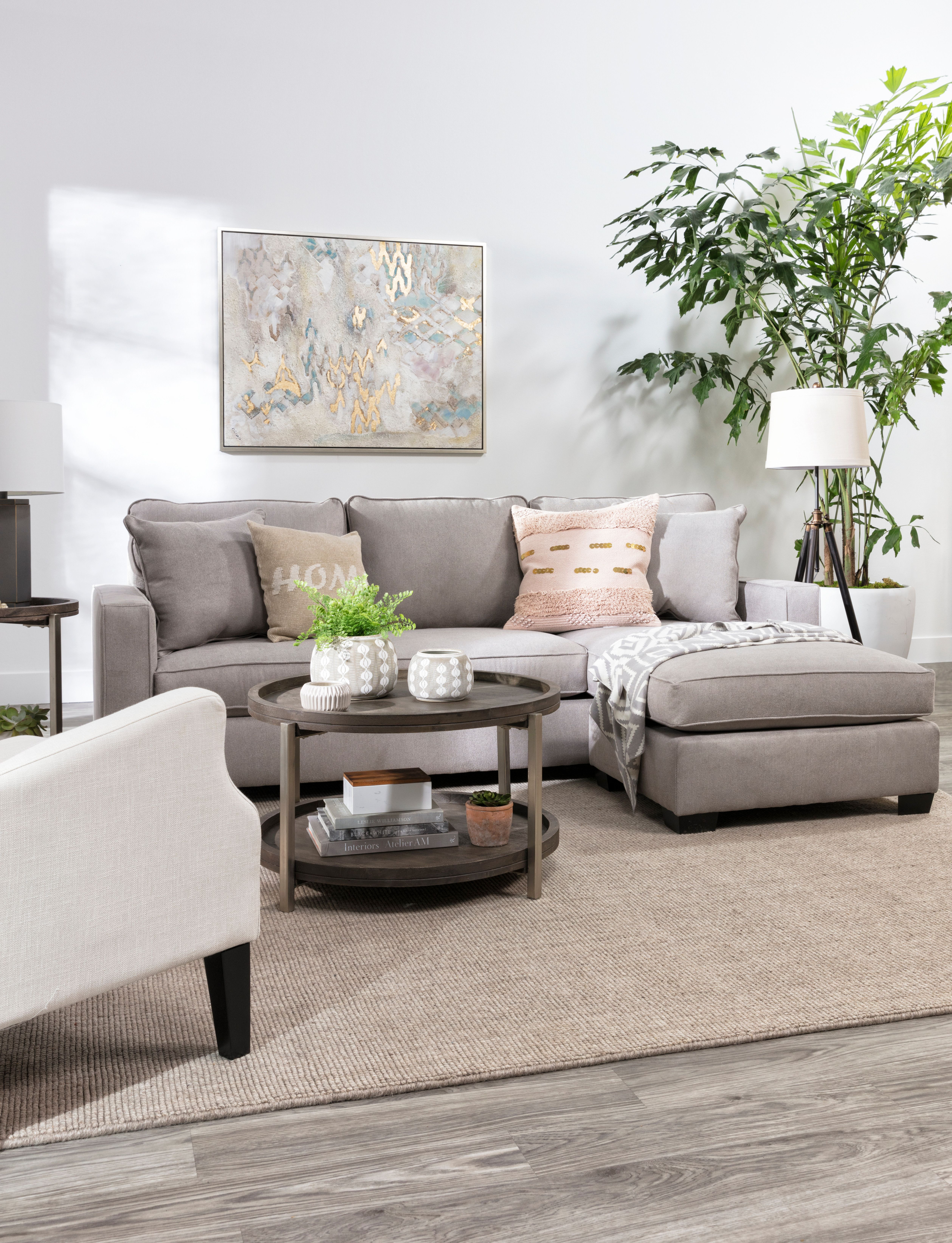 Egan Ii Cement Sofa With Reversible Chaise Living Room Decor