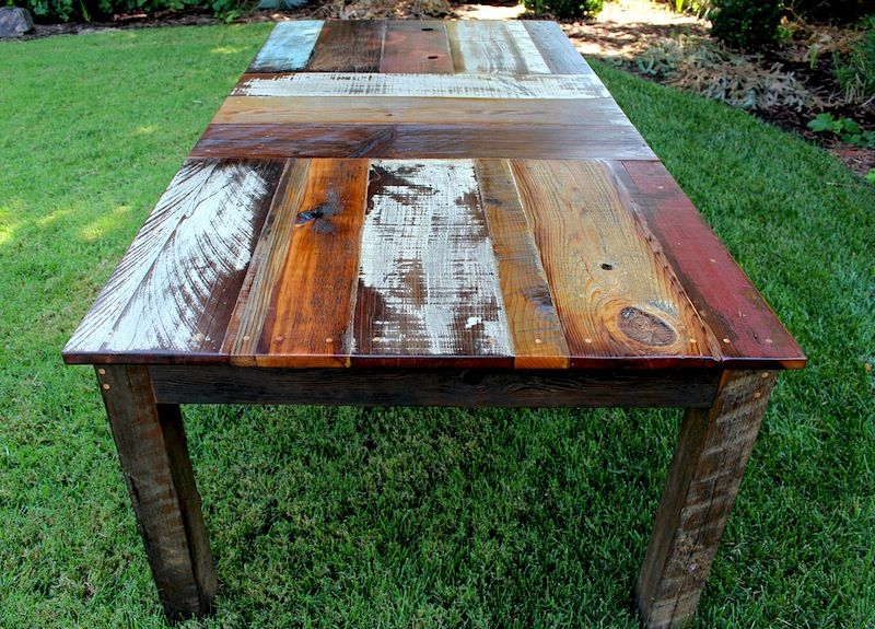Reclaimed wood dining table design with an edge