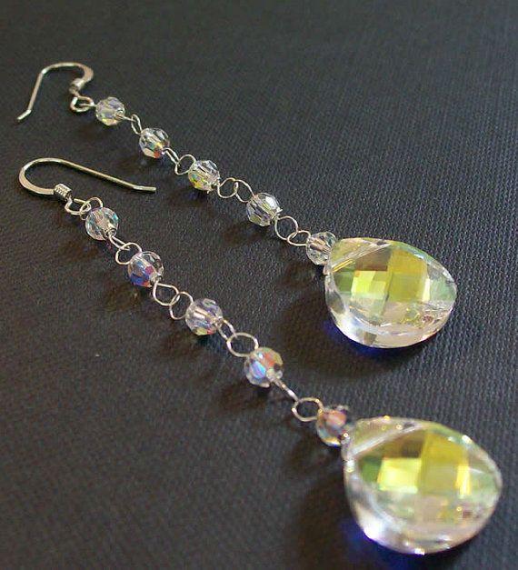 Long Chandelier Teardrop Earrings Sterling Silver by bonitaj, #LongChandeliers #ChandelierEarrings #BridalEarrings #TeardropEarrings