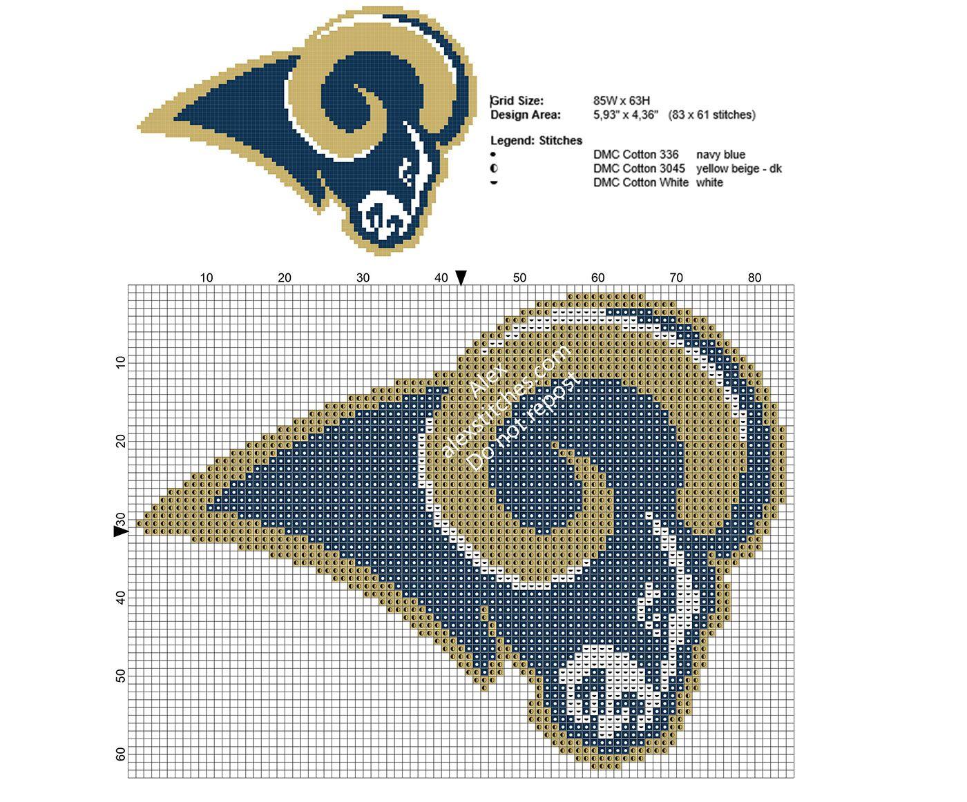 Nfl Los Angeles Rams Logo Free Cross Stitch Pattern