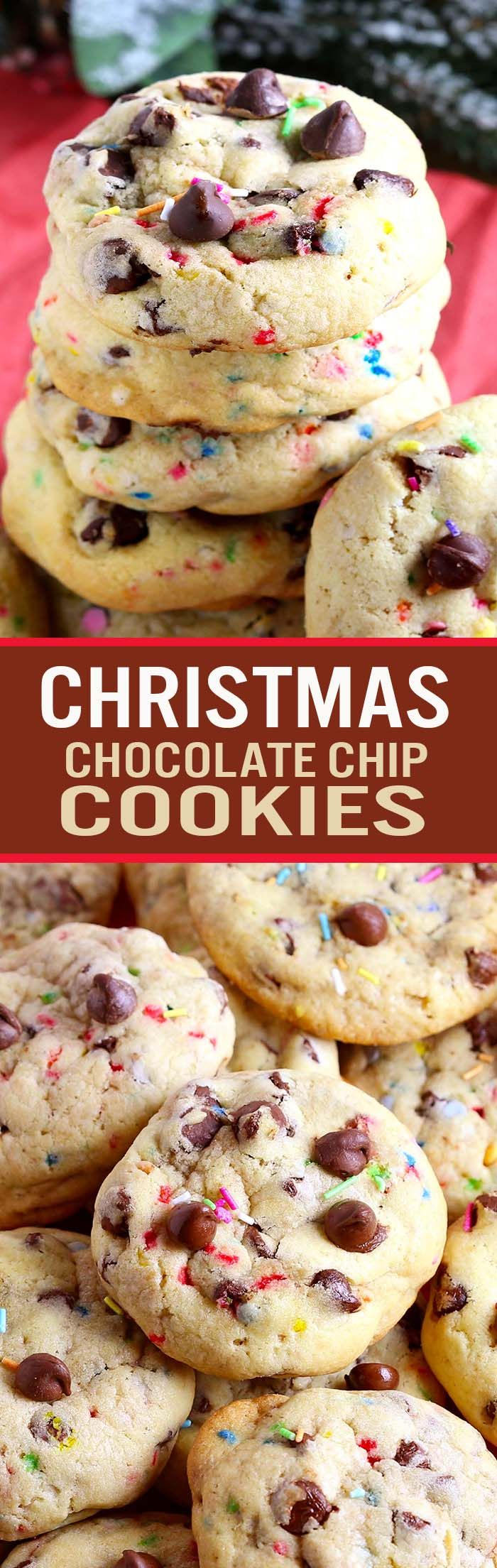 your favorite chocolate chip cookie topped with holiday sprinkles for an easy treat at any holiday occasion