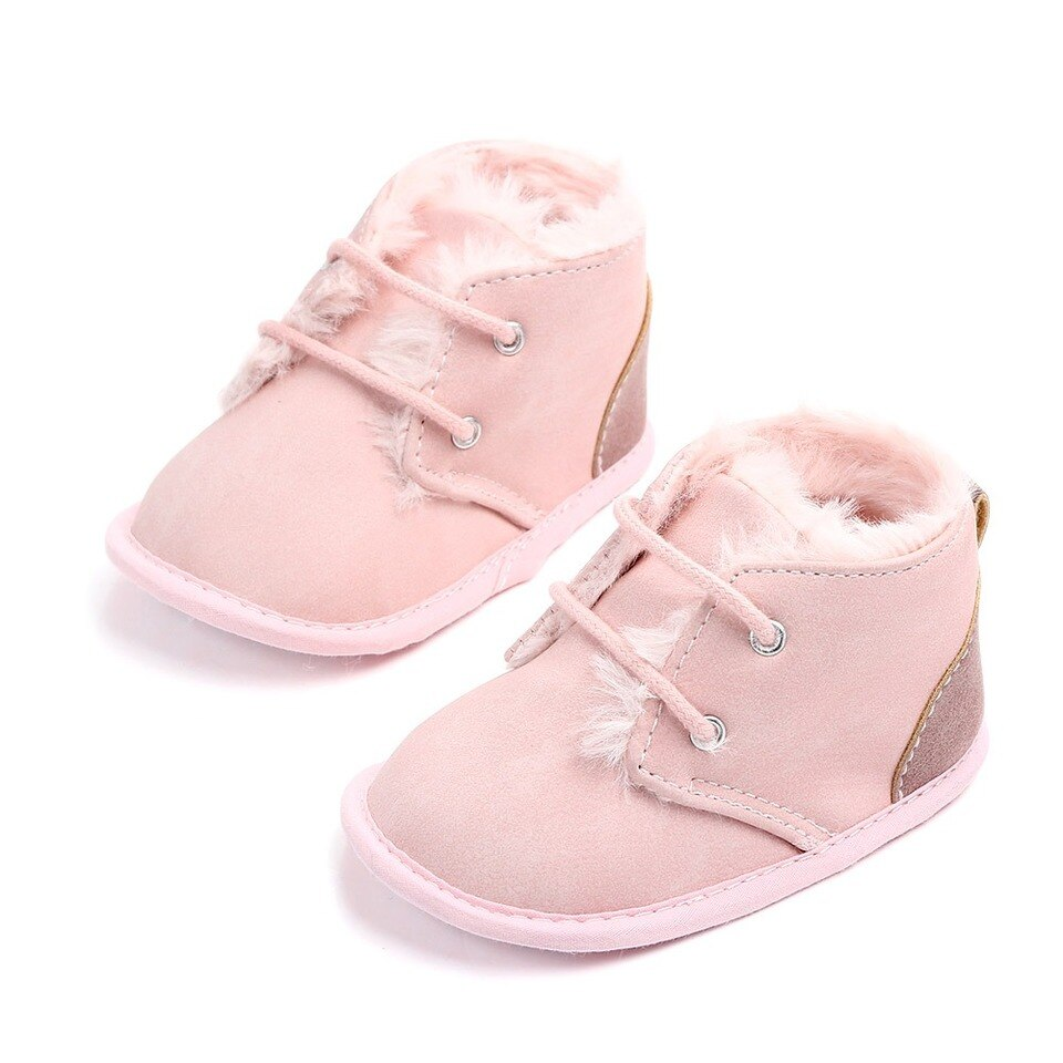 Lennon Pink Baby Boots With Fur Trim Baby Boots Black Baby Boots Soft Sole Baby Shoes