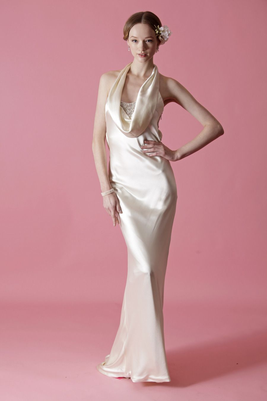 Slinky pearl silk satin back crepe gown with front cowl neckline ...