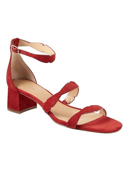 2555ec0c68d Banana Republic Womens Laser-Cut Low Block-Heel Sandal Ruby Red Suede