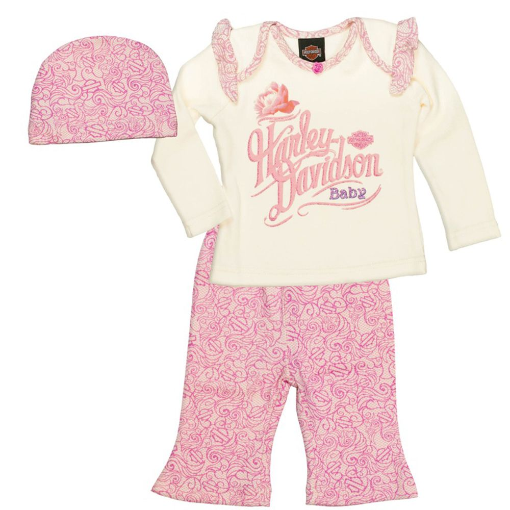 Harley Davidson Infant Girls 3 Piece Gift Set With Bag 2503543 3