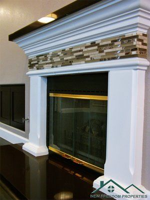 Glass Tile Fireplace Surround Granite Fireplace Hearth With Glass