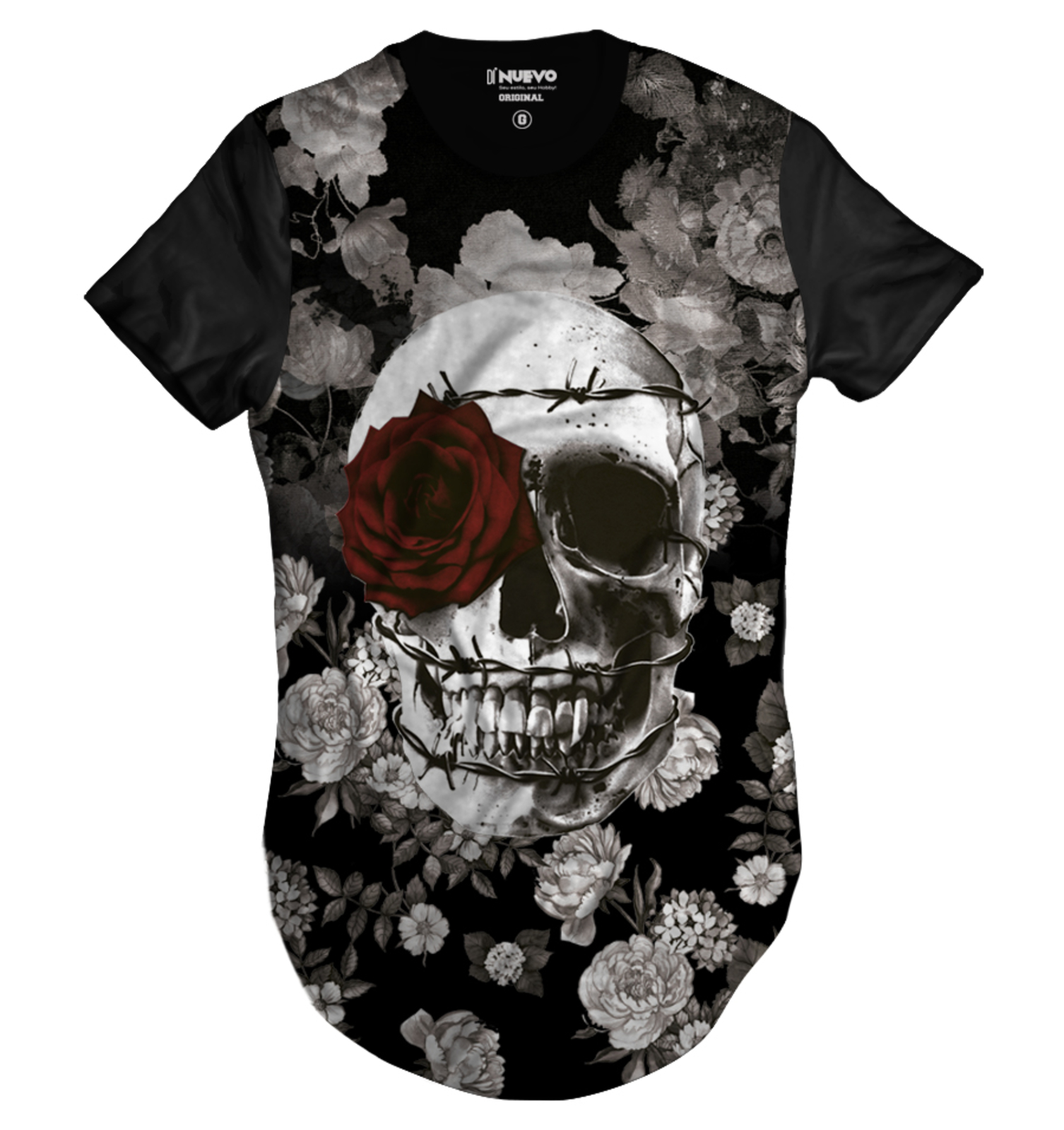 Camiseta Di Nuevo Longa Caveira Com Coroa De Espinhos E Rosa