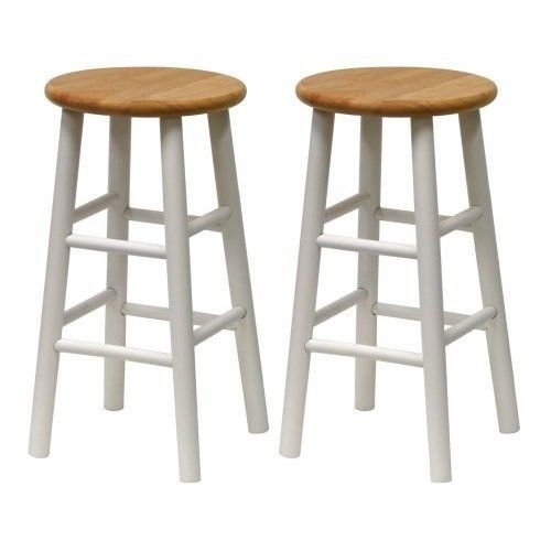 Wooden Bar Stools Counter Height Chairs Set Of 2 Natural Wood