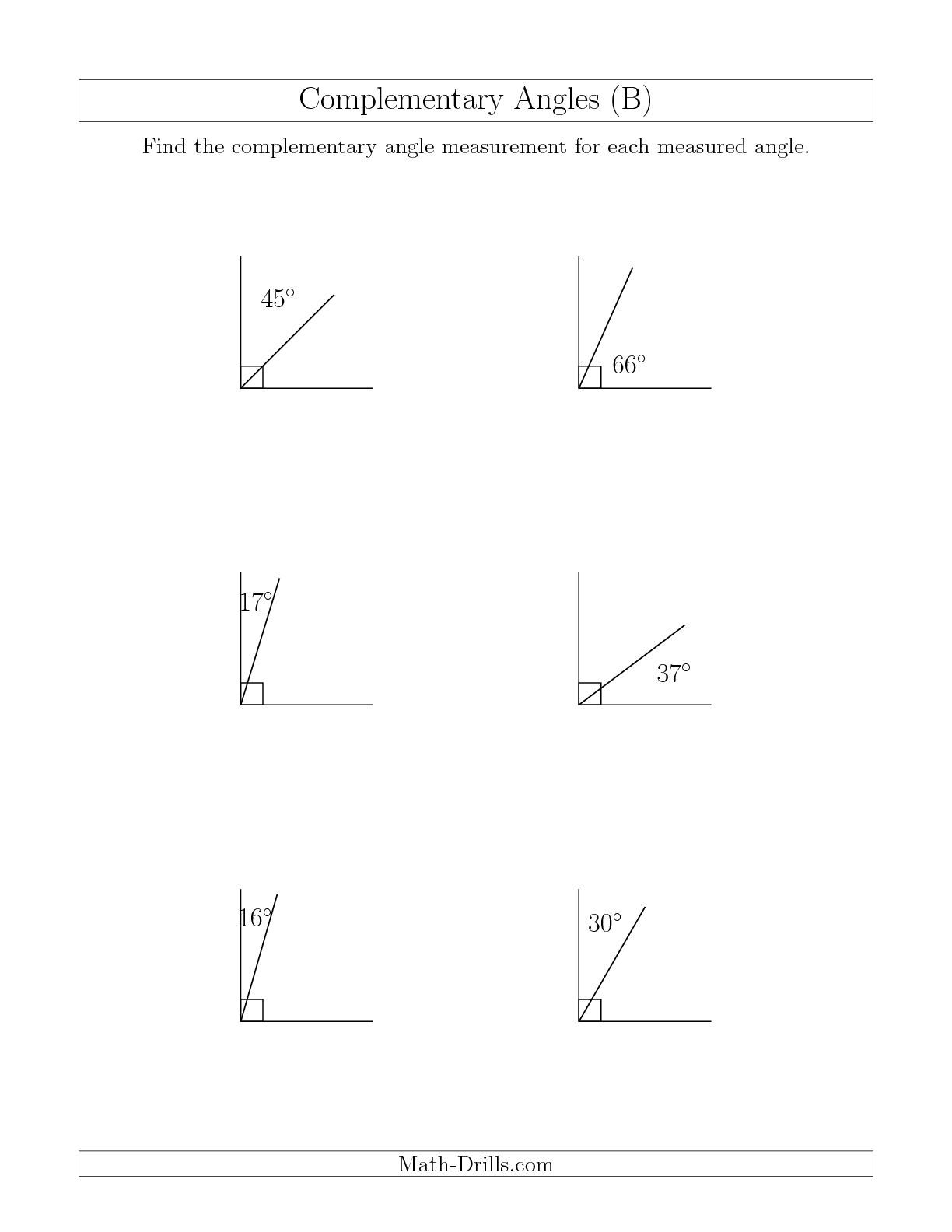 Complementary Angle Relationships B Math Worksheet