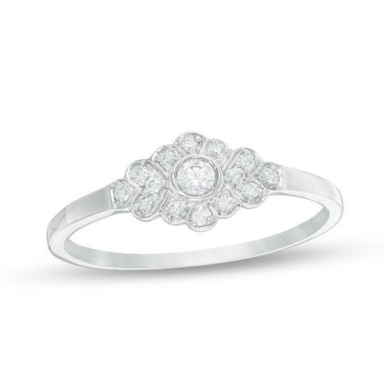Zales Diamond Accent Looped Chevron Ring in 10K White Gold AnyOAKXJh