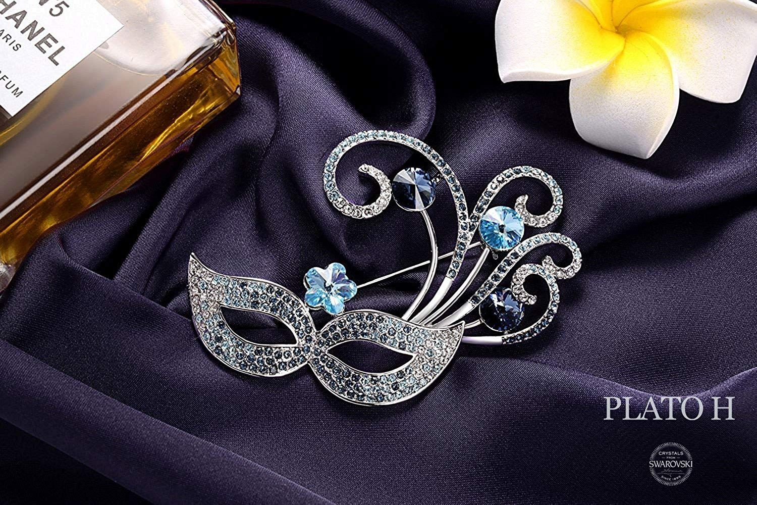 1cb2cea29cac16 Woman Mask Pins Brooches PLATO H Venice Bauta Brooch with Swarovski  Crystals Mom Ideal Gift