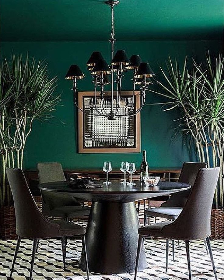 Image result for emerald green dining room | Green dining room