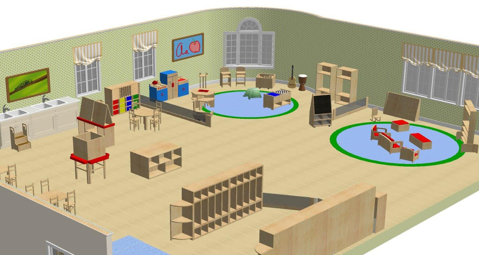 Preschool Classroom Design Template : Classroom layout rendering as inspiration client