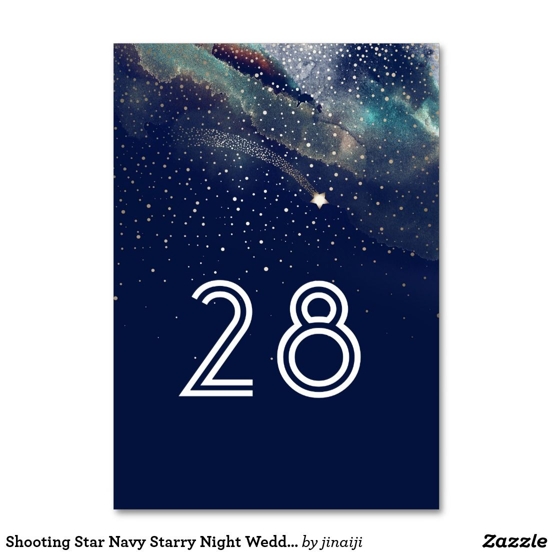 Shooting Star Navy Starry Night Wedding Table Number